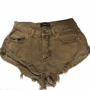 Mustard Seed Distressed High Rise Button Fly Short